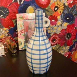 Anthropologie handpainted blue and white vase